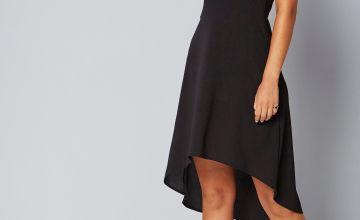 Cold Shoulder Dip Hem Dress