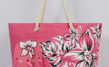 Pink Floral Beach Bag and Matching Flip Flops