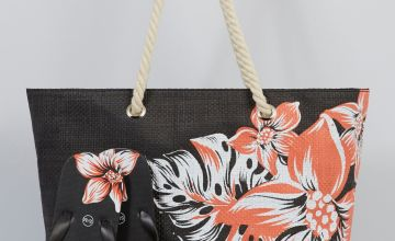 Black Floral Beach Bag and Matching Flip Flops