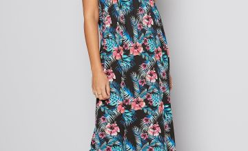 Black Floral Bandeau Maxi Dress