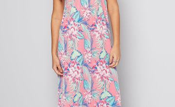 Pink Floral Bandeau Maxi Dress