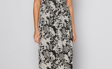 Mono Print Bandeau Maxi Dress