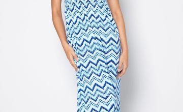 Blue Zig Zag Bandeau Maxi Dress