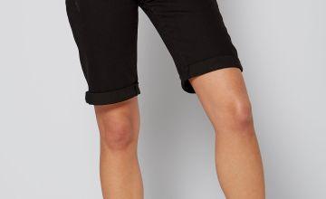 Longline Denim Turn Up Black Shorts