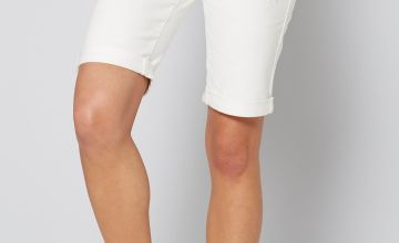 Longline Denim Turn Up White Shorts