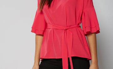 Frill Sleeve Belted Top