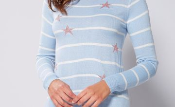 Stripe Jacquard Blue Star Jumper