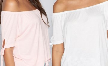 Pack of 2 Tie Sleeve Elasticated Boat Neck T-Shirts