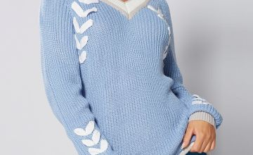 Plait Detail V-Neck Jumper