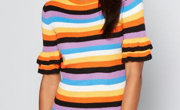 Rainbow Brights Stripe Frill Sleeve Ribbed Jumper