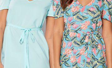 Pack of 2 Coral Floral Cold Shoulder Belted Dresses