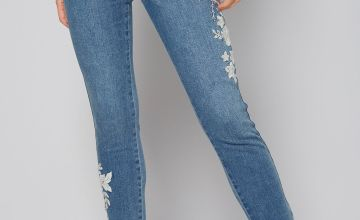 Embroidered Light Wash Ankle Grazer Jeans