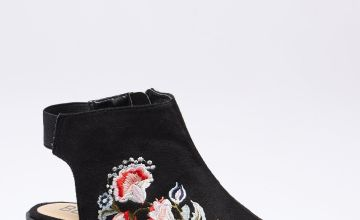 Embroidered Peep Toe Shoe Boots
