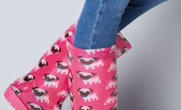 Tall Pink Pug Wellington Boots