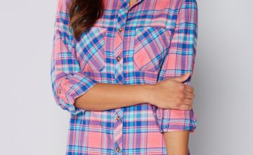Long Sleeve Pink and Blue Check Shirt