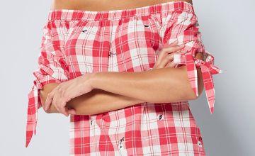 Bardot Check Pink Embroidered Top