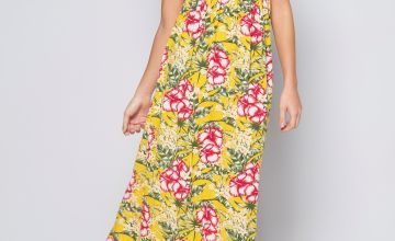 Bardot Yellow Floral Shirred Detail Maxi Dress