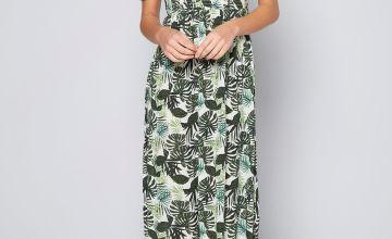 Bardot Palm Print Shirred Detail Midi Dress