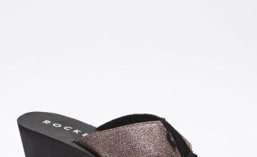 Rocket Dog Diver Glitter Toe Post Wedge Sandals