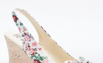 Floral Peep Toe Wedge Shoes