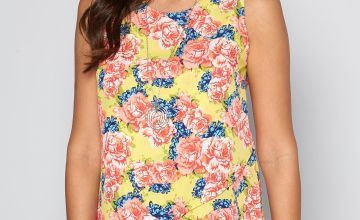 Yellow Floral Print Sleeveless Necklace Top