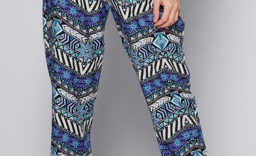 Printed Woven Blue Aztec Tapered Trousers