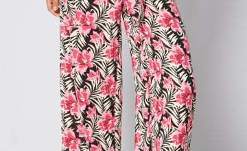 Printed Pink Floral Woven Wide Leg Trousers