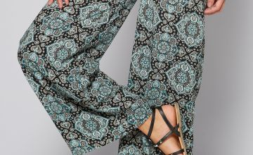 Printed Woven Blue Paisley Wide Leg Trousers