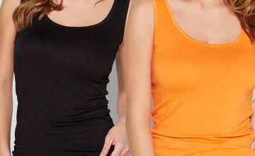 Pack of 2 Black and Orange Longline Vests