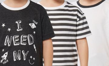 Younger Boys Pack of 3 Slogan and Stripe T-Shirts