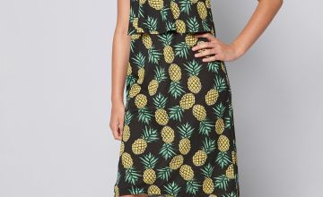 Girls Summer Print Pineapple Midi Dress