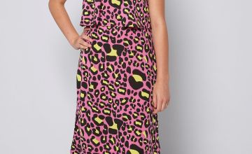 Girls Summer Print Pink Leopard Midi Dress