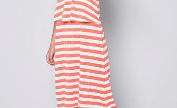 Girls Summer Print Stripe Midi Dress