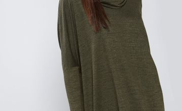 Apricot Melange Cowl Neck High Low Tunic