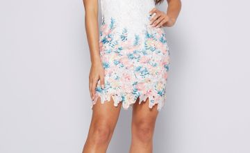 Apricot Floral Lace Shift Dress