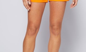 Cotton Orange Poplin Shorts
