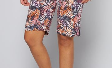 Knee Length Palm Print Cotton Poplin Shorts