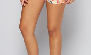 Orange Floral Cotton Poplin Shorts