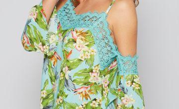 Aqua Floral Cold Shoulder Crochet Printed Top