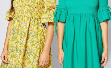 Pack of 2 Yellow Floral Print Shirred Flute Sleeve Dresses