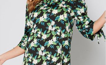 Bardot Green Floral Tie Sleeve Tunic Dress