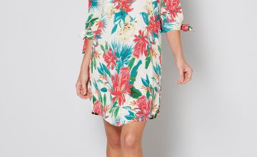 Bardot Tropical Tie Sleeve Tunic Dress
