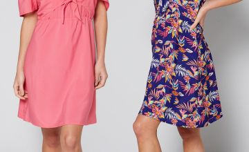 Pack of 2 Pink + Navy Floral Cold Shoulder Dresses