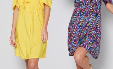 Pack of 2 Yellow + Aztec Print Cold Shoulder Dresses