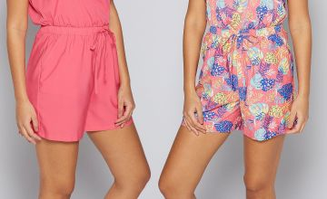 Pack of 2 Pink + Leaf Print Bandeau Playsuits