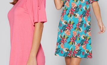 Pack of 2 Tropical Print Jersey Bardot Dresses
