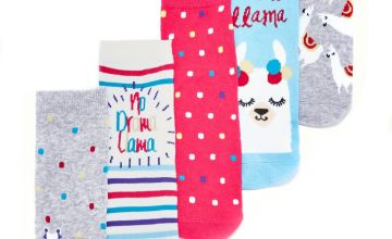 Girls Pack of 5 Llama Socks