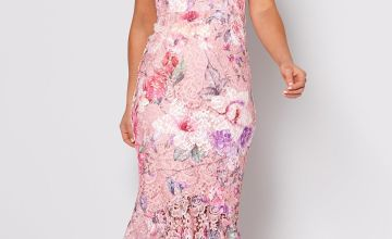 Floral Printed Lace Fishtail Dress