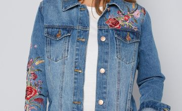 Longline Floral Embroidered Denim Jacket