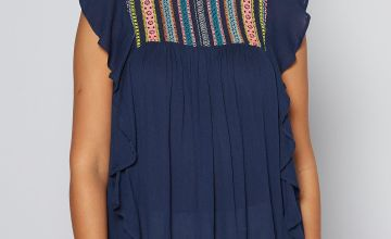 Navy Neon Detail Smock Top